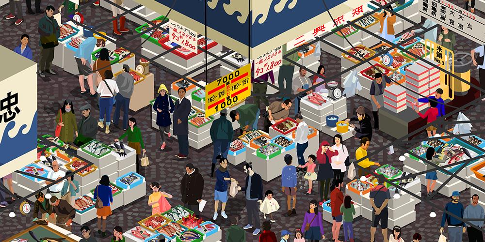 Odlco design shop tokyo fish market print world famous for Chicago wholesale fish market